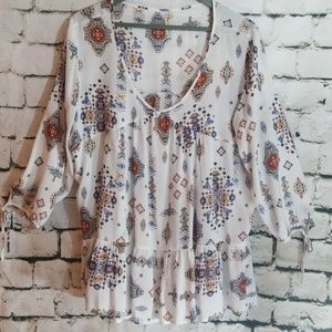 Aztec Print Tunic Top Large